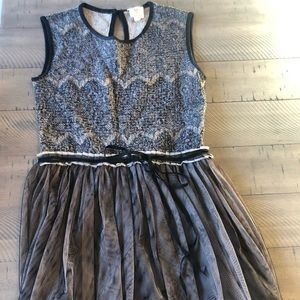 Anthropologie black dress with tulle XS